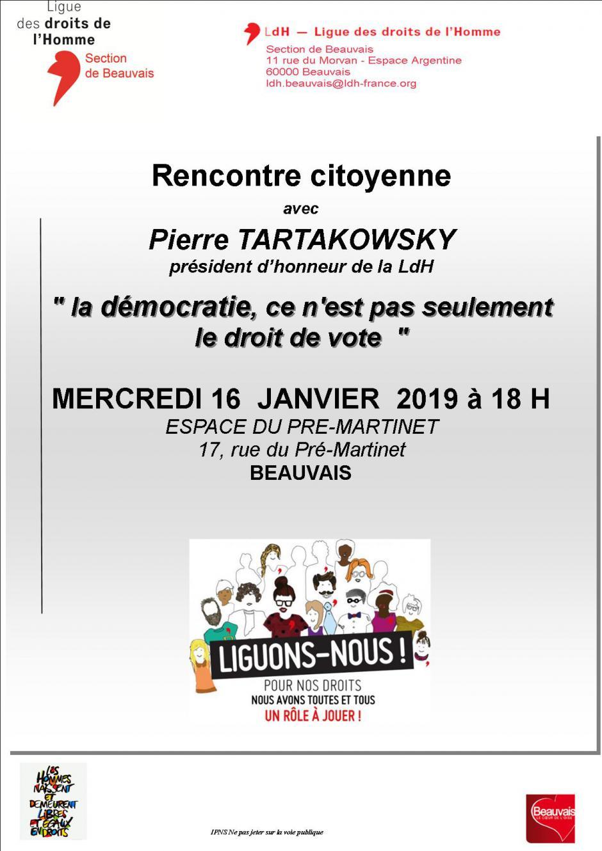 16 janvier, Beauvais - LDH-Rencontre citoyenne « Démocratie », avec Pierre Tartakowsky
