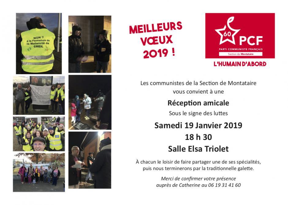 Invitation à une réception amicale autour de la galette et du verre de la Fraternité - PCF Montataire, 19 janvier 2019