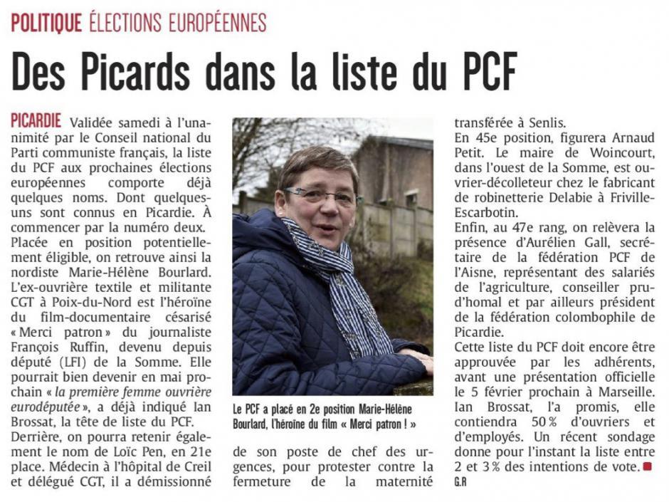 20190128-CP-Picardie-Des Picards dans la liste du PCF aux élections européennes