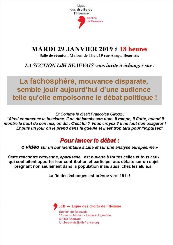 29 janvier, Beauvais - LDH-Débat sur la fachosphère