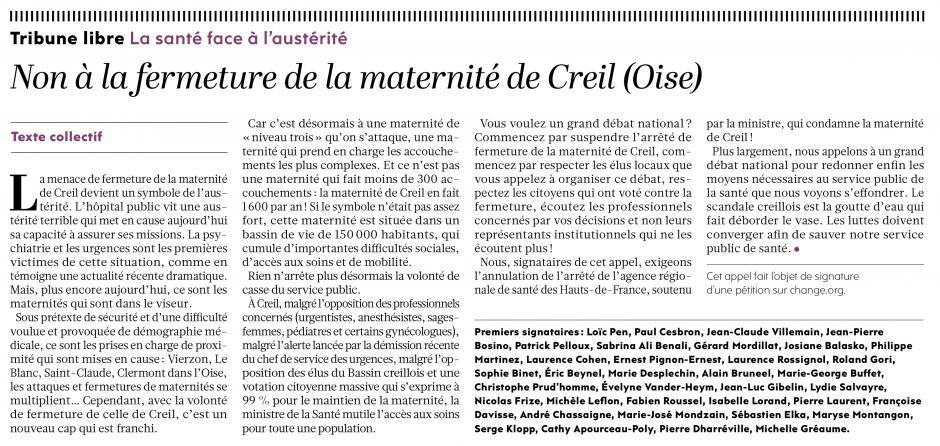 20190129-L'Huma-Creil-Non à la fermeture de la maternité de Creil (Oise)