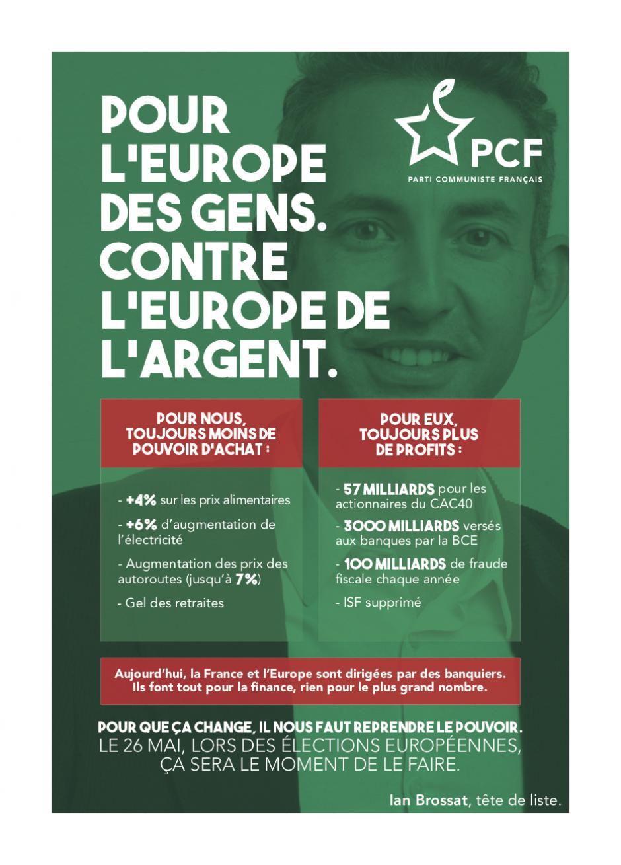 Flyer « Pour l'Europe des gens, contre l'Europe de l'argent » - PCF, février 2019