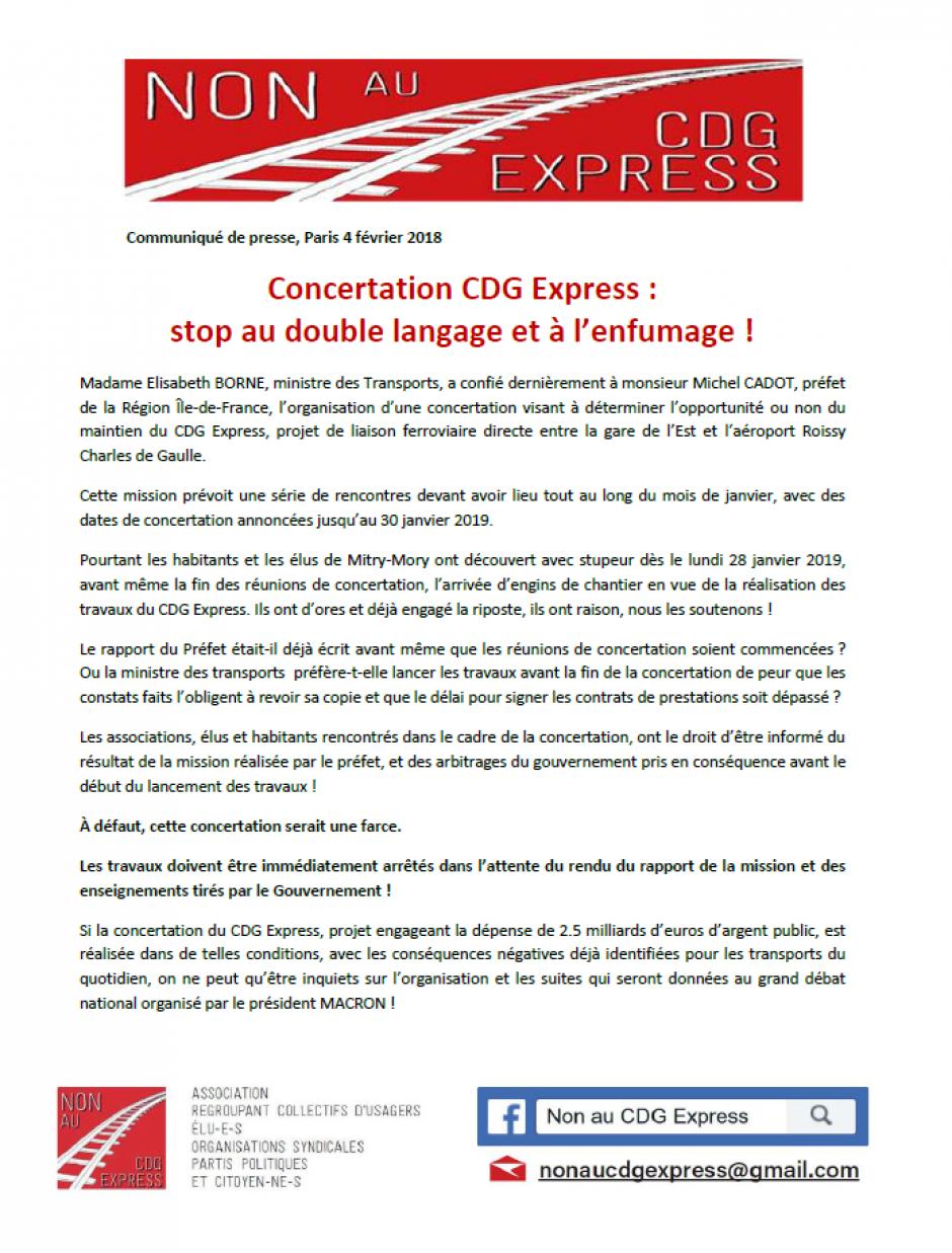 Communiqué « Concertation du CDG Express : stop au double langage et à l'enfumage ! » - Non au CDG Express, 4 février 2019