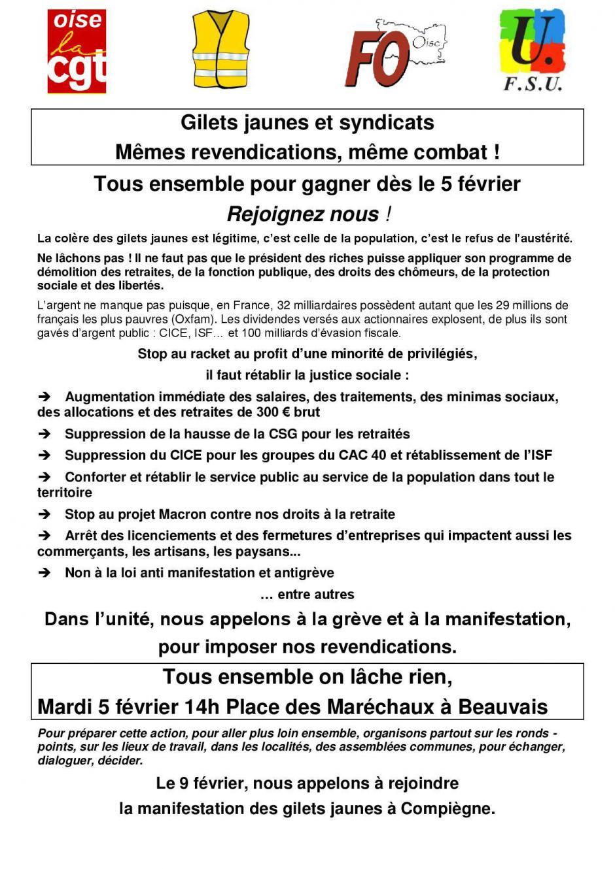 5 février, Beauvais - Manifestation pour répondre à l'urgence sociale