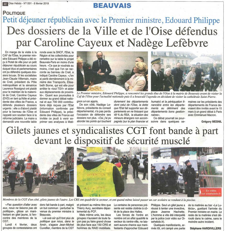 20190206-OH-Beauvais-Gilets jaunes et syndicalistes CGT font bande à part devant le dispositif de sécurité musclé