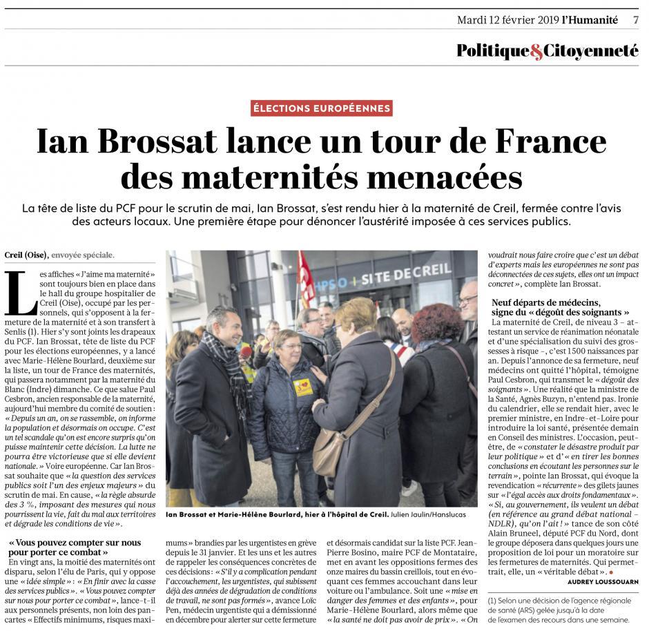 20190212-L'Huma-Creil-Ian Brossat lance un tour de France des maternités menacées