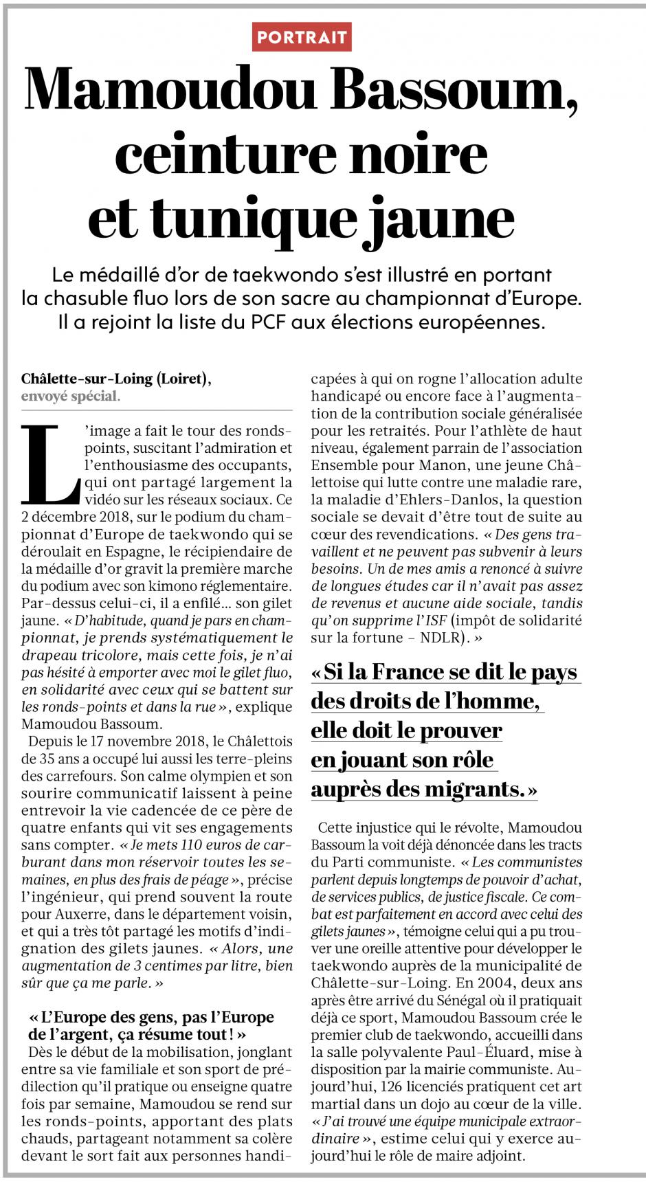20190219-L'Huma-France-Mamoudou Bassoum, ceinture noire et tunique jaune