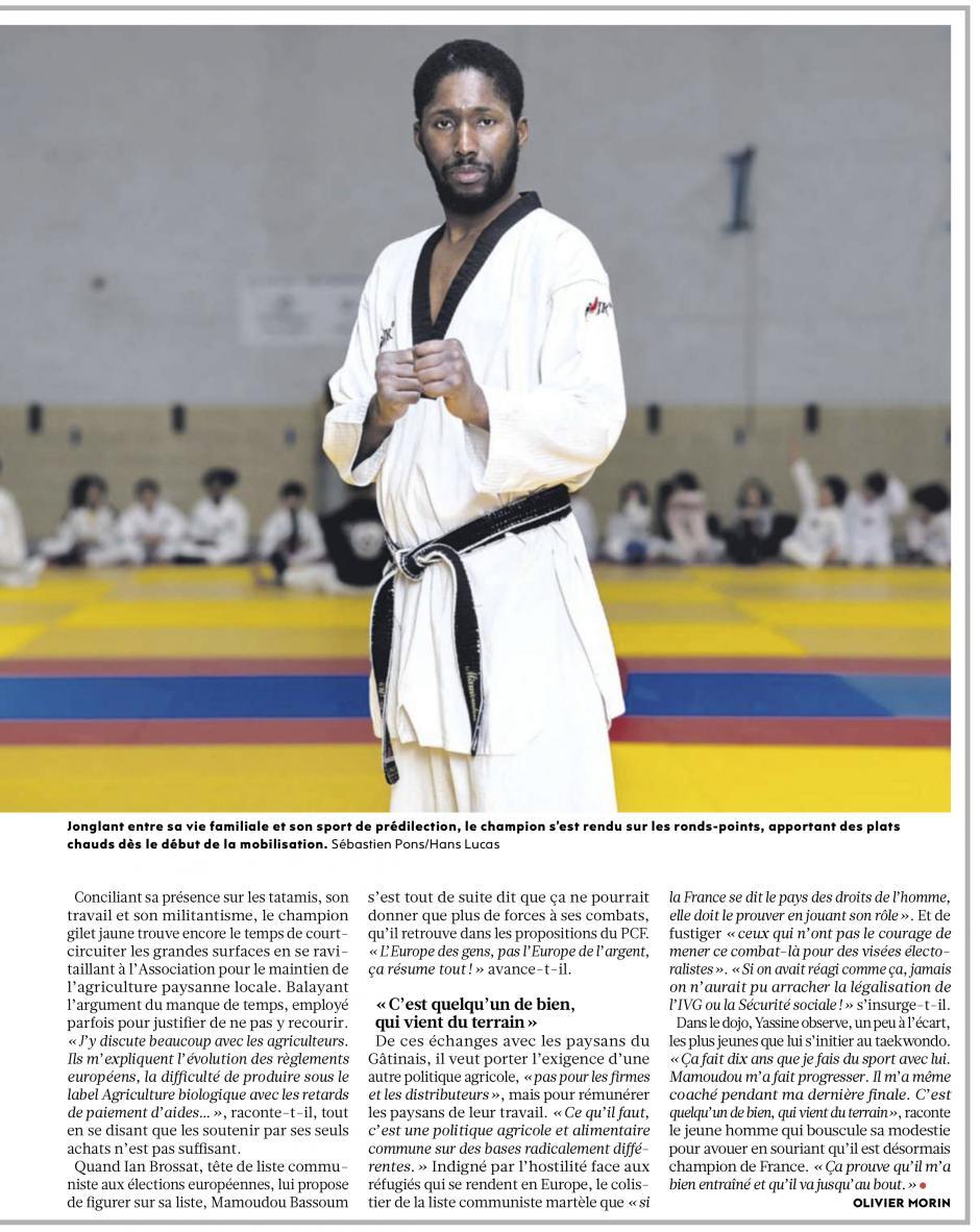 20190219-L'Huma-France-Mamoudou Bassoum, ceinture noire et gilet jaune