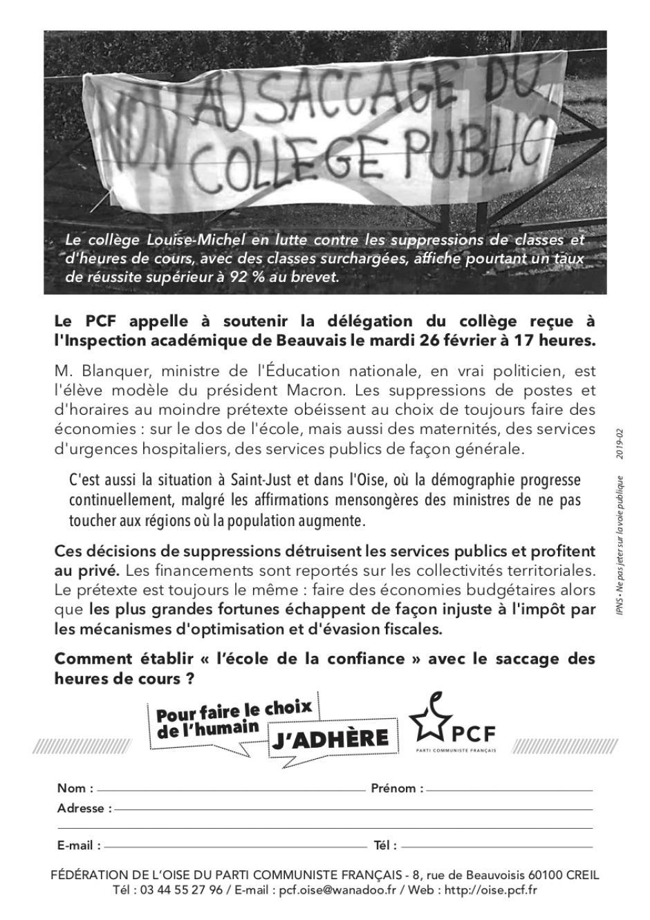 Flyer « Soutien à la délégation du collège Louise-Michel » - PCF Saint-Just-en-Chaussée, 26 février 2019