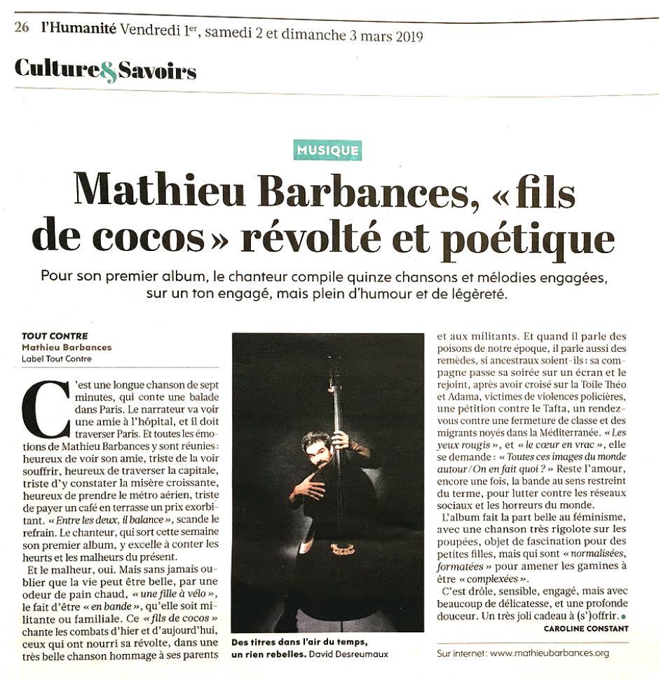 Mathieu Barbances sera à la Fête de la Paix !