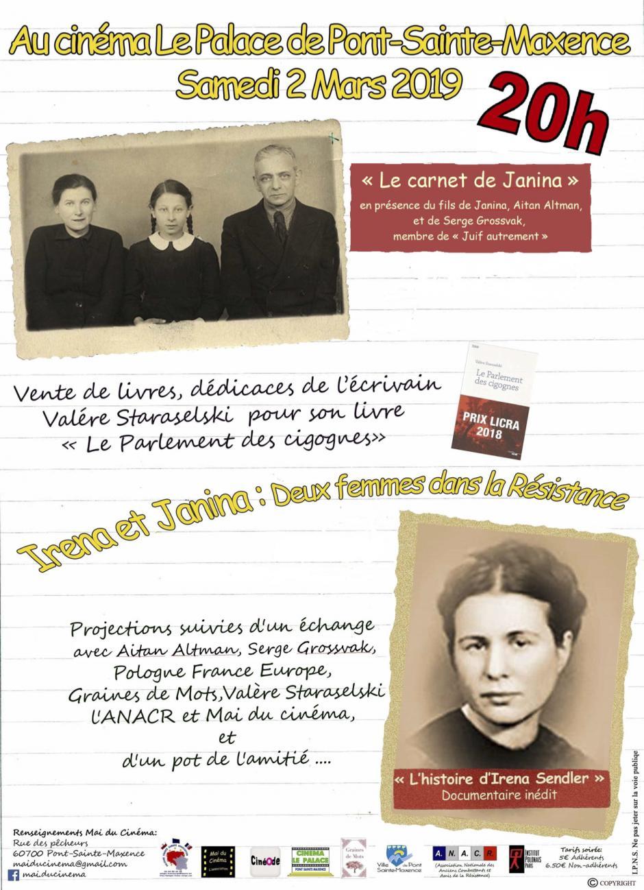 2 mars 2019, Pont-Sainte-Maxence - Projection-échanges « Irena et Janina : deux femmes dans la Résistance »