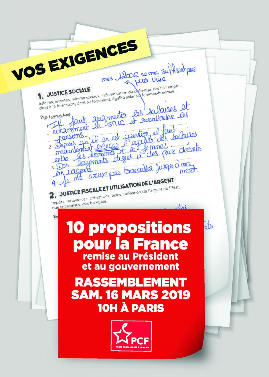 16 mars, Paris - Rassemblement « 10 propositions pour la France remises au président et au gouvernement »