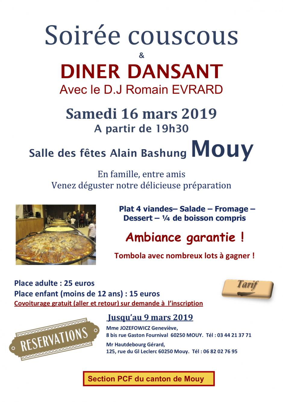 16 mars, Mouy - PCF Mouy-Soirée couscous et dîner dansant