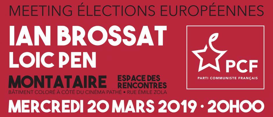 Bandeau « Européennes 2019 - Meeting avec Ian Brossat et Loïc Pen » - PCF Oise, 20 mars 2019