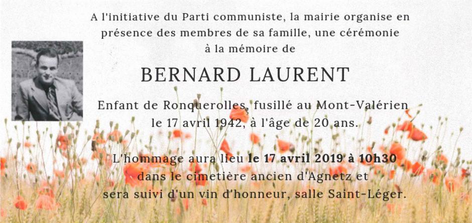 17 avril, Agnetz - Cérémonie à la mémoire de Bernard Laurent