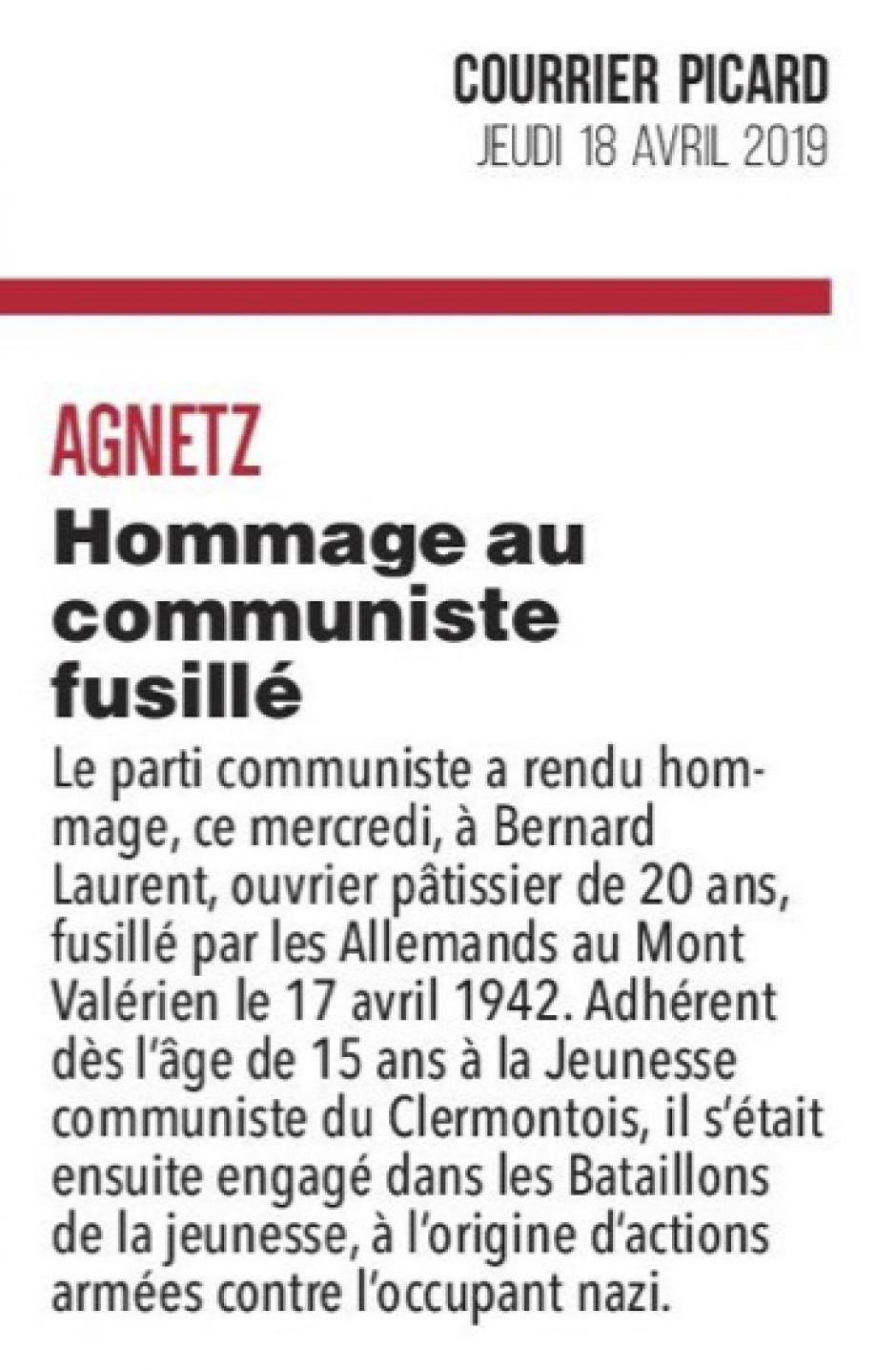 20190418-CP-Agnetz-Hommage au communiste fusillé [pages régionales]