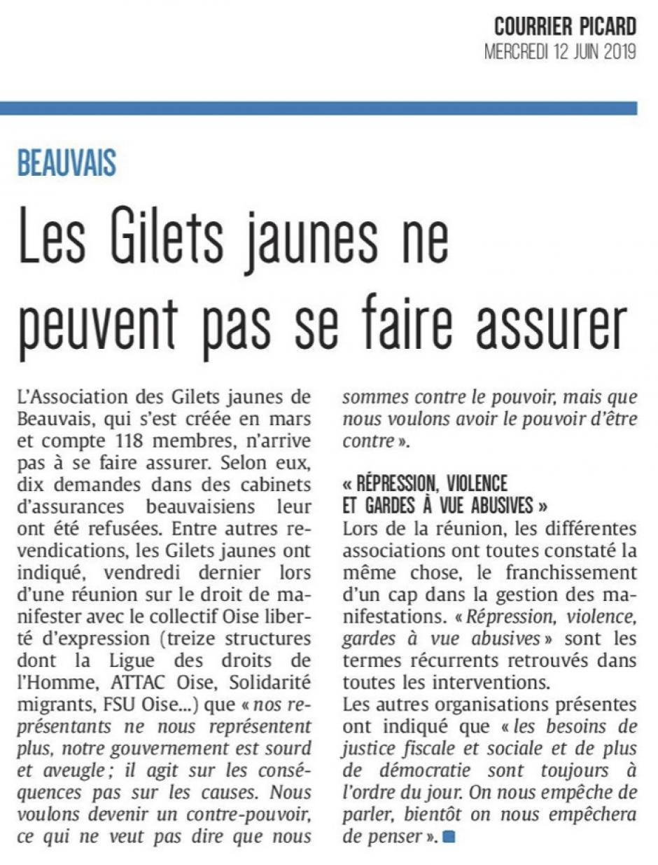 20190612-CP-Beauvais-Les gilets jaunes ne peuvent pas se faire assurer