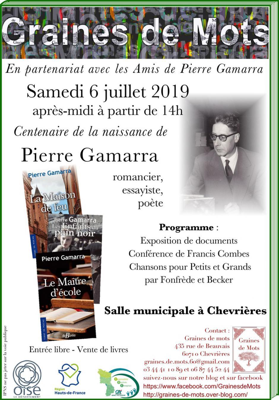 6 juillet, Chevrières - Graines de Mots & Les Amis de Pierre Gamarra-Après-midi autour du centenaire de Pierre Gamarra