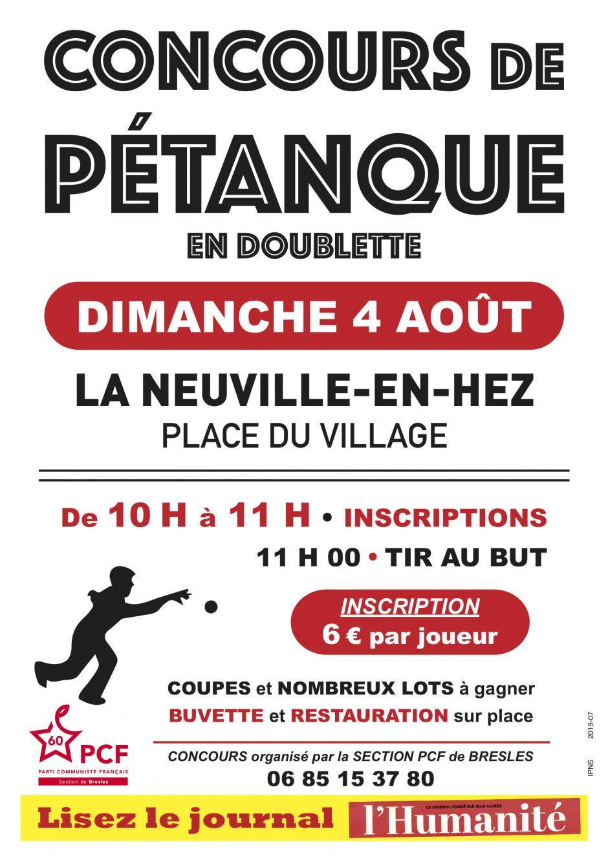4 août, La Neuville-en-Hez - Concours de pétanque du PCF Bresles