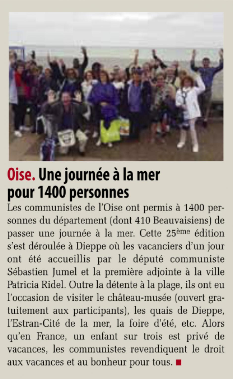 20190823-Liberté Hebdo-Oise-Une journée à la mer pour 1 400 personnes