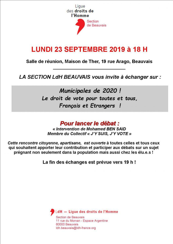 23 septembre, Beauvais - LDH-Échanges « Municipales de 2020 ! Le droit de vote pour toutes et tous, Français et étrangers »