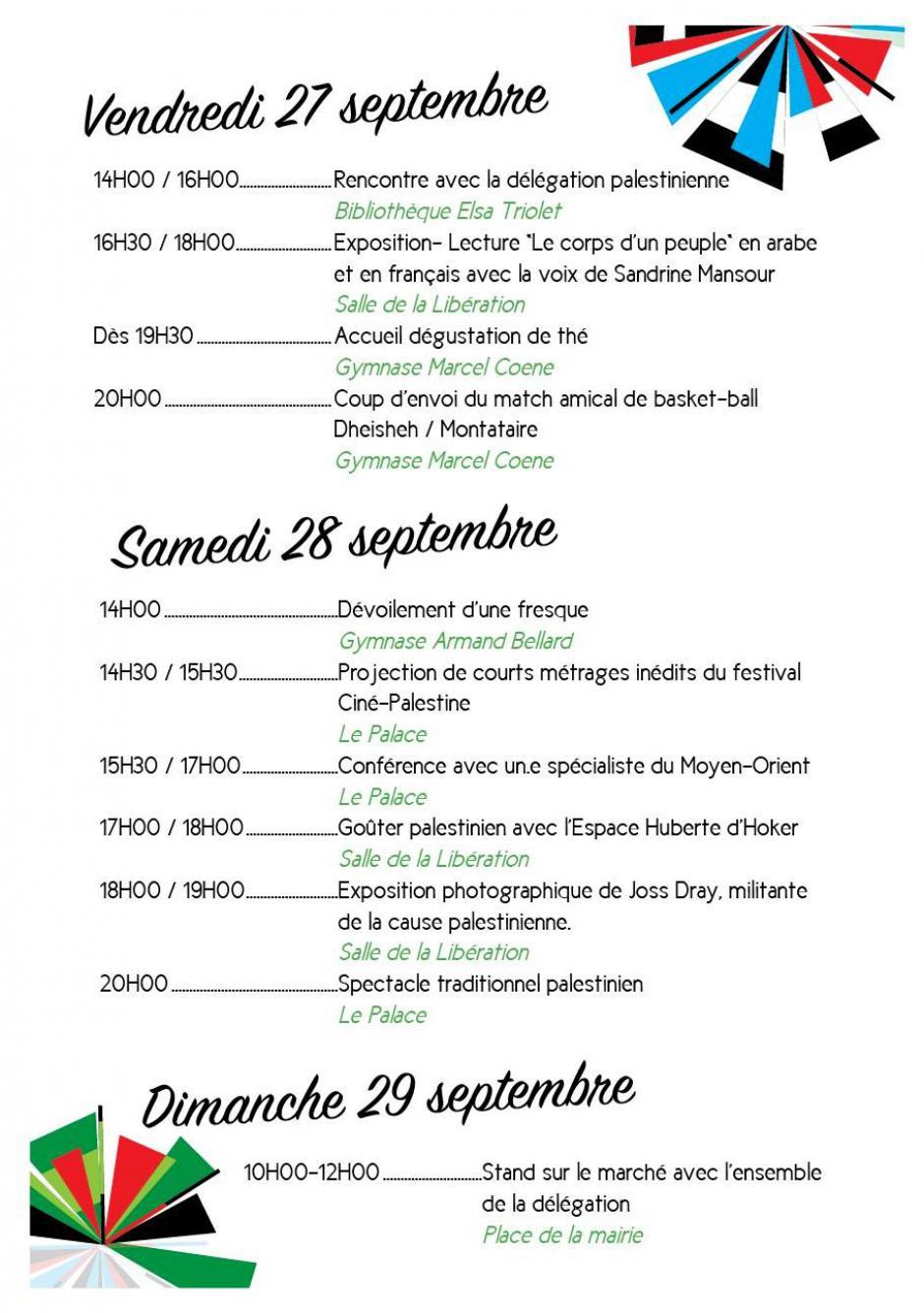 30e anniversaire du Comité de jumelage Montataire-Dheisheh-Le programme