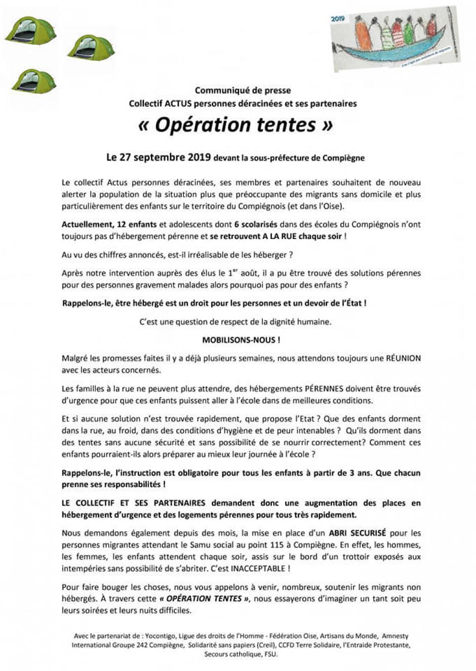 Soutien au migrant·e·s non hébergé·e·s - Compiègne, 27 septembre 2019