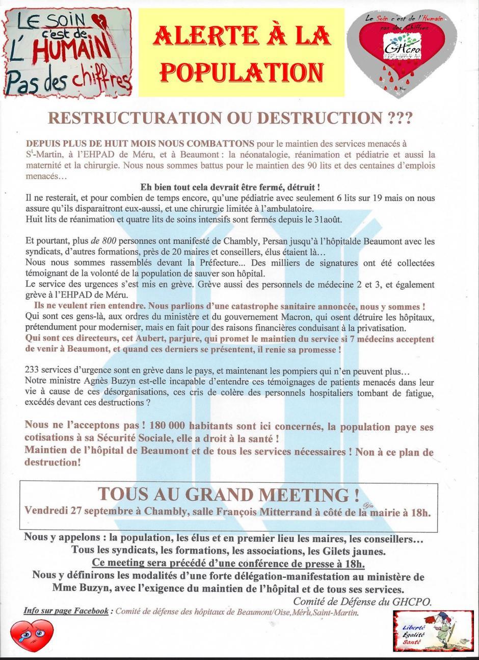 27 septembre, Chambly - Comité de défense du GHCPO-Meeting « Hôpital de Beaumont : restructuration ou destruction ? »