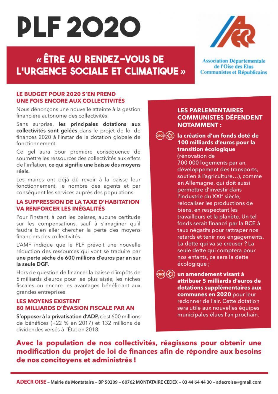 Tract «PLF 2020 : être au rendez-vous de l'urgence sociale et climatique » - ADECR Oise, 19 octobre 2019