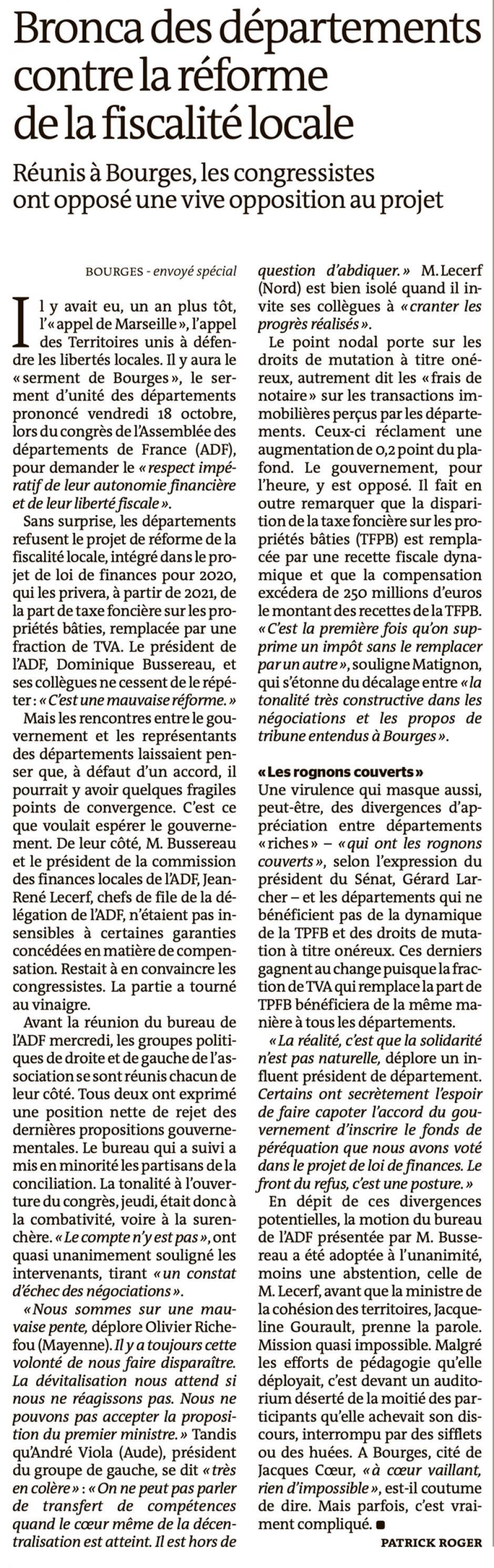 20191020-LeM-Bourges-Bronca des départements contre la réforme de la fiscalité locale