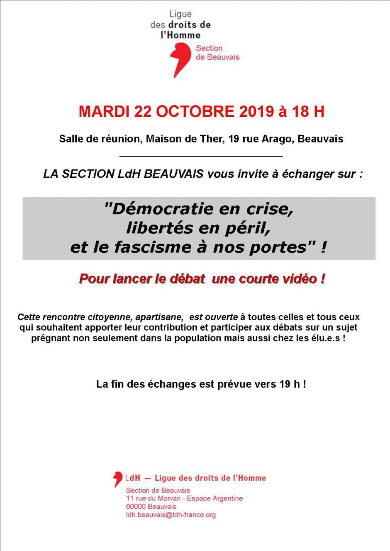 22 octobre, Beauvais - LDH-Rencontre citoyenne « Démocratie en crise, libertés en péril, et le fascisme à nos portes ! »