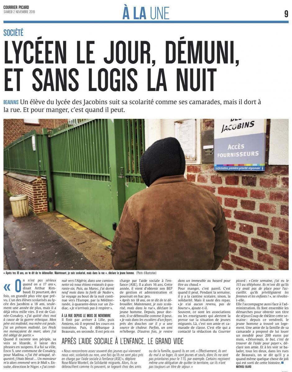 20191102-CP-Beauvais-Lycéen le jour, démuni, et sans logis, la nuit