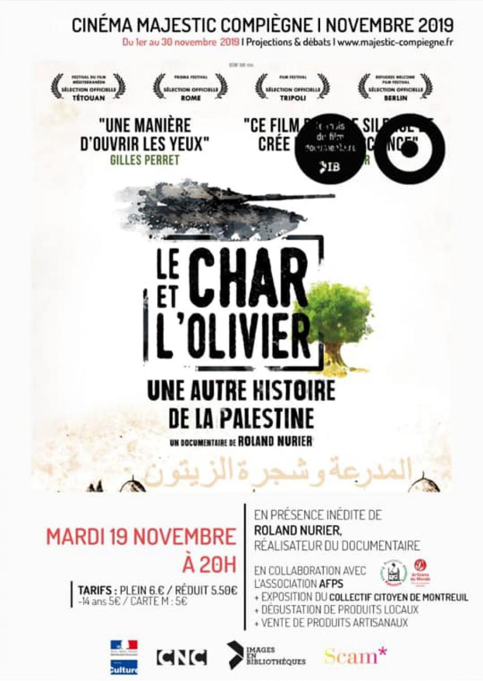 19 novembre, Compiègne - Projection-débat « Le char et l'olivier, une autre histoire de la Palestine »