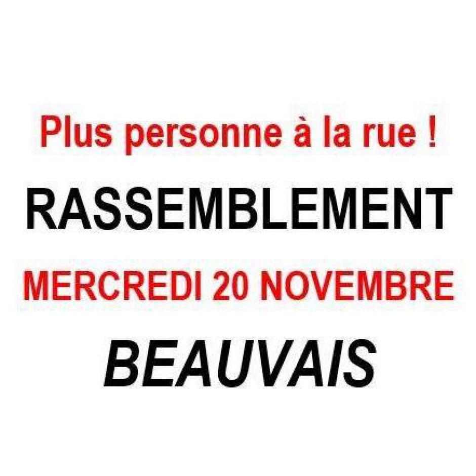 20 novembre, Beauvais - Rassemblement « Plus personne à la rue »