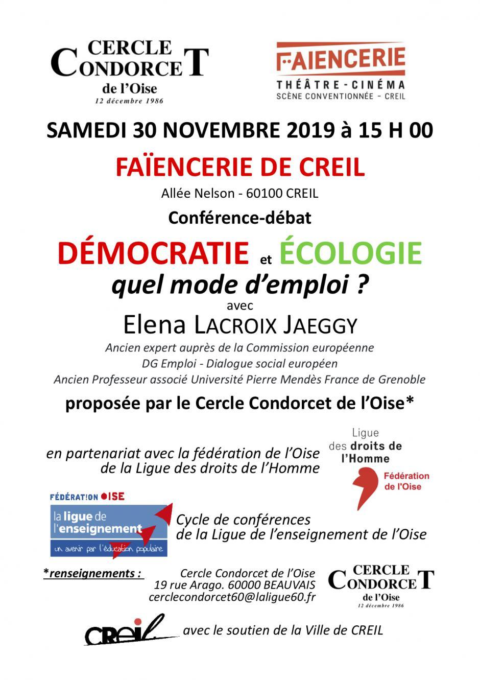 30 novembre, Creil - Cercle Condorcet- Conférence-débat « Démocratie et écologie, quel mode d'emploi ? », avec Elena Lacroix Jaeggy