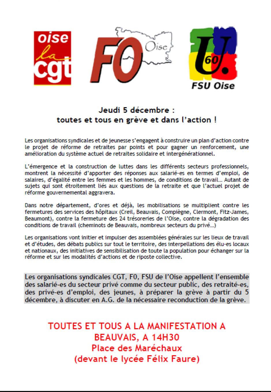 Tract unitaire « Jeudi 5 décembre : toutes et tous en grève et dans l'action ! » - CGT Oise, FO Oise, FSU Oise, 5 décembre 2019