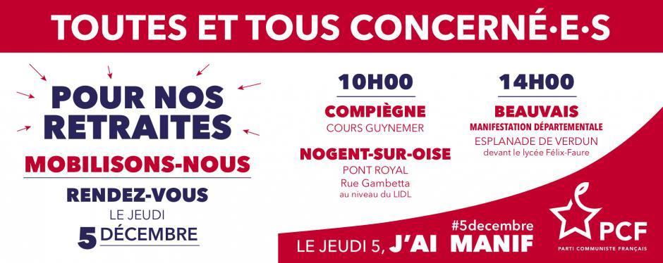 5 décembre, Beauvais, Compiègne et Nogent-sur-Oise - Retraites : toutes et tous en grève le 5 décembre !