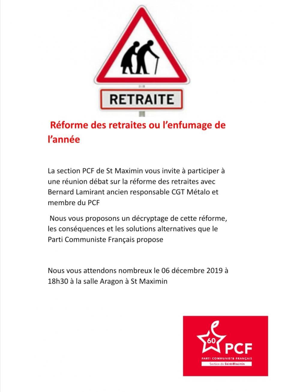 6 décembre, Saint-Maximin - PCF Saint-Maximin-Réunion-débat « Réforme des retraites »