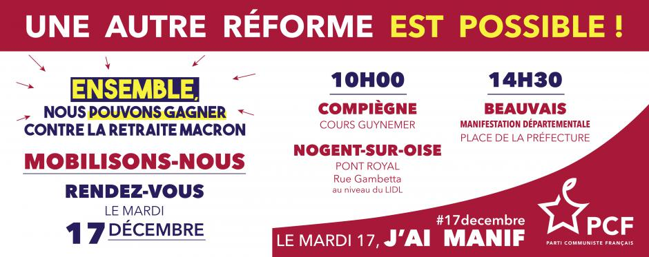 17 décembre, Oise - Journée d'action pour le retrait du projet de réforme Macron des retraites !