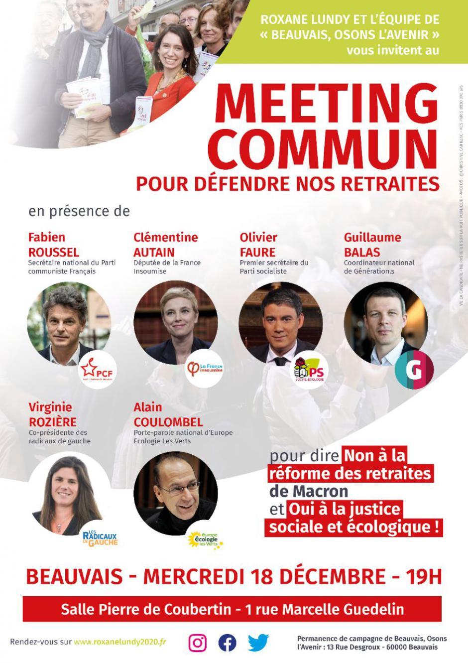 18 décembre, Beauvais - Grand meeting unitaire sur l'avenir des retraites
