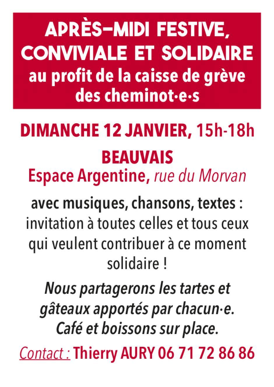 12 janvier, Beauvais - Après-midi festive, conviviale et solidaire au profit de la caisse de grève des cheminot·e·s