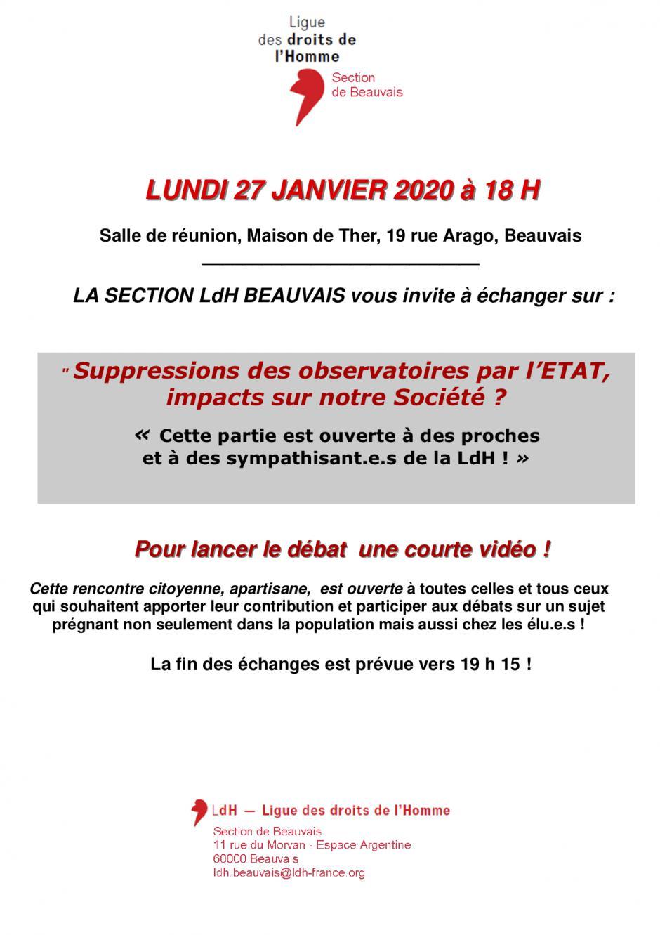 27 janvier, Beauvais - LDH Beauvais-Rencontre « Suppressions des observatoires par l'État, impacts sur notre Société ? »