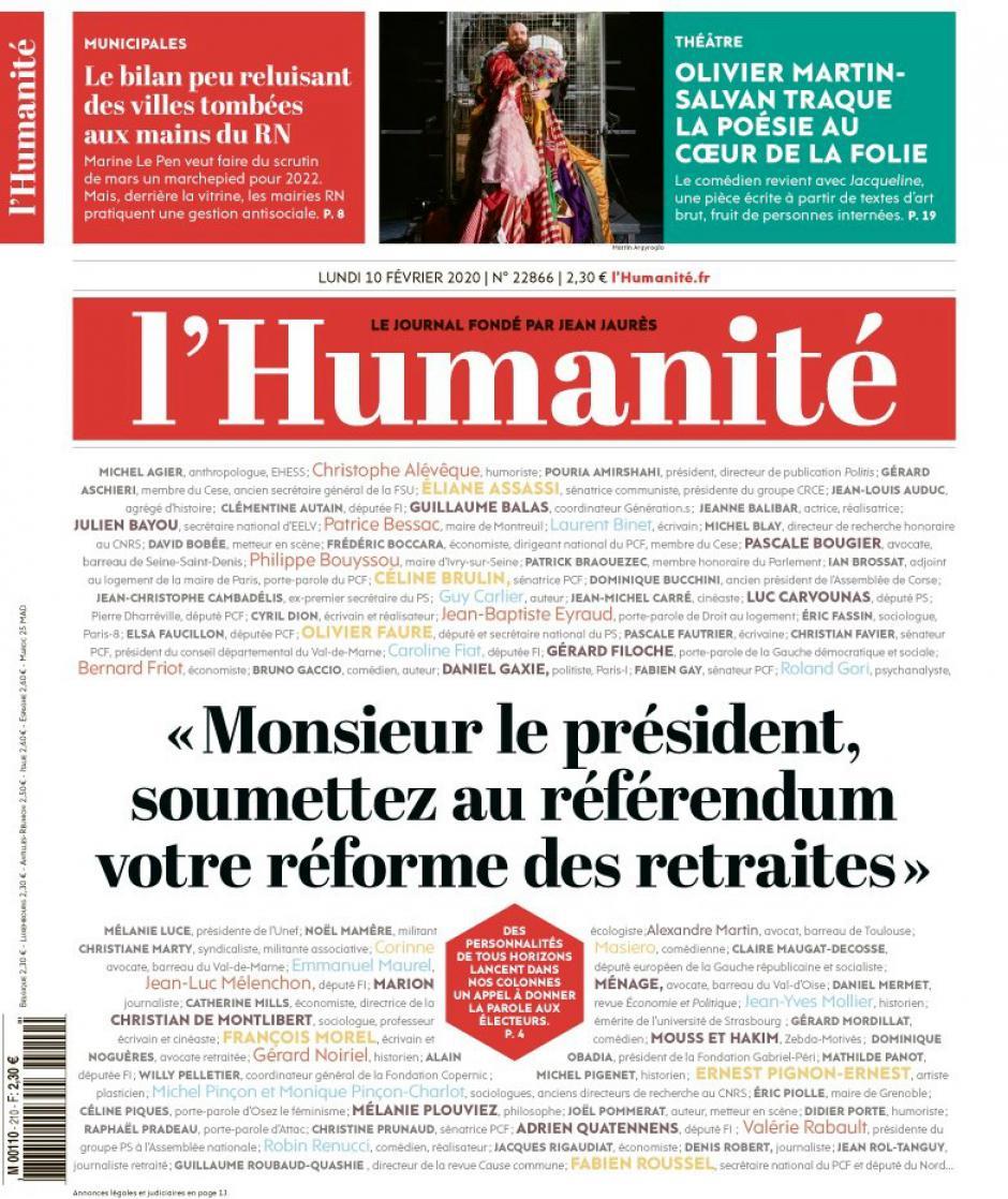 Pétition « Retraites : Monsieur le Président, soumettez votre réforme au référendum » - L'Humanité, février 2020