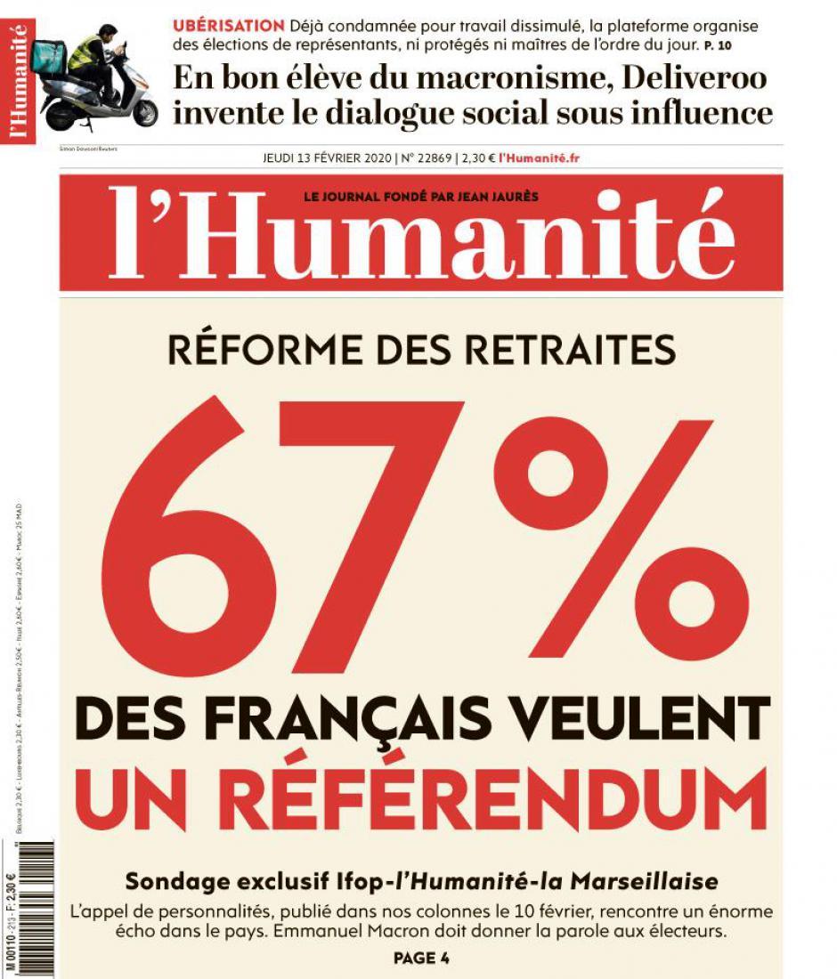 Réforme des retraites : 67 % des Français veulent un référendum - L'Humanité du 13 février 2020