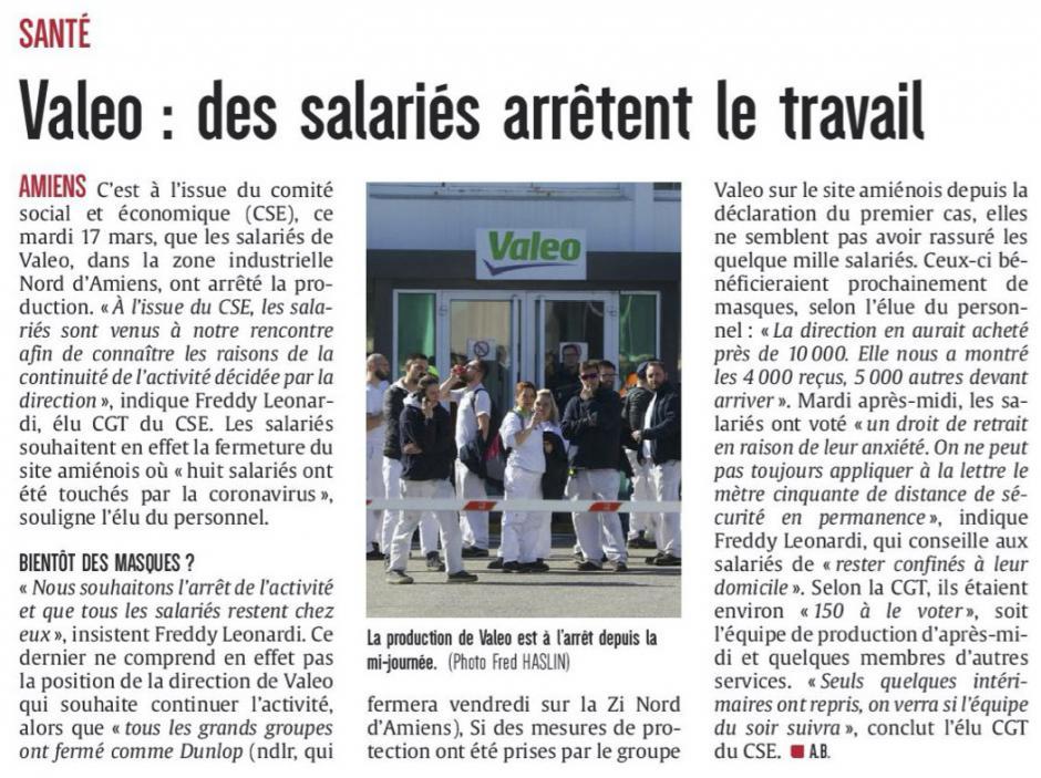 20200318-CP-Amiens-Valeo : des salariés arrêtent le travail