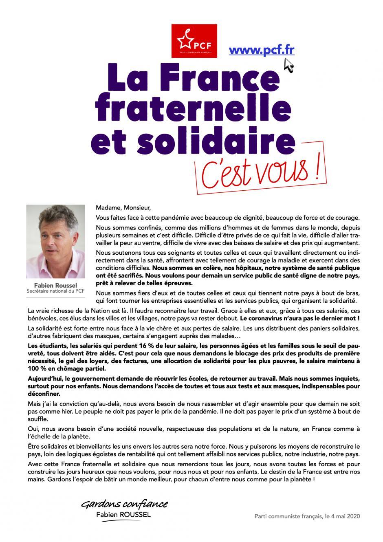 Lettre de Fabien Roussel aux Français·e·s : « La France fraternelle et solidaire, c'est vous ! »