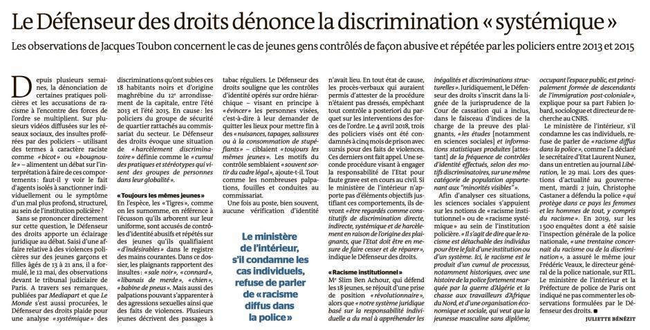 20200604-LeM-France-Le Défenseur des droits dénonce la discrimination « systématique »