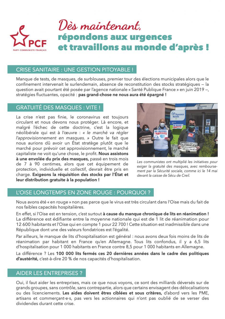 Tract « Dès maintenant, répondons aux urgences et travaillons au monde d'après » - PCF Oise et sections, juin 2020