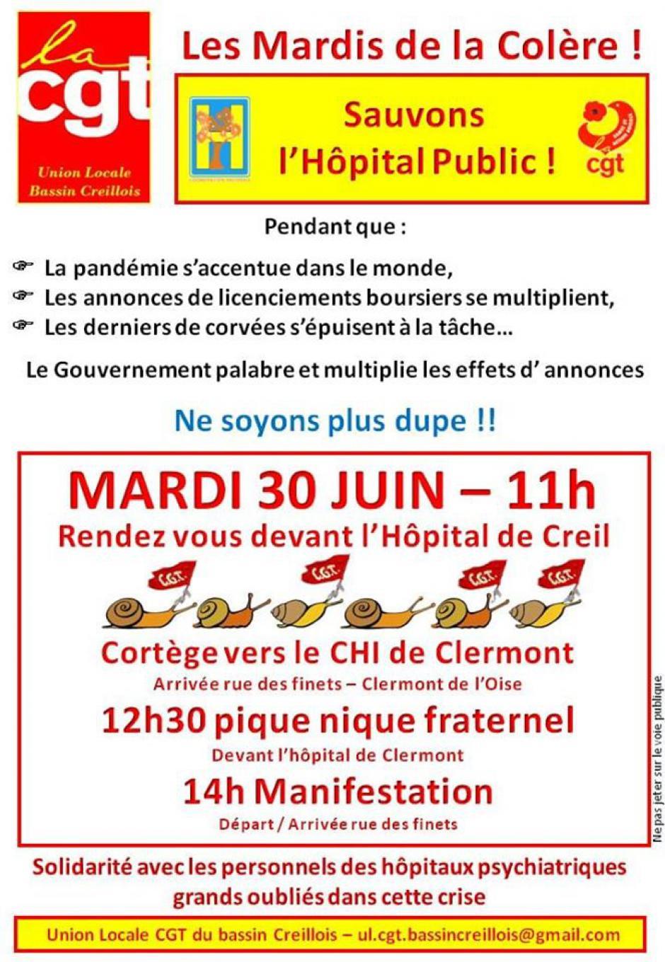Tract « Les Mardis de la Colère : sauvons l'hôpital public » - UL CGT Bassin Creillois, 30 juin 2020