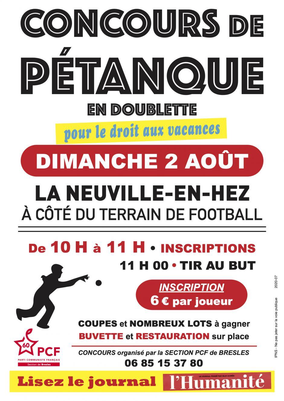2 août, La Neuville-en-Hez - PCF Bresles-Concours de pétanque en doublette, pour le droit aux vacances